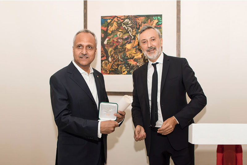 "Mr. Snehdeep Aggarwal, Chairman and Founder, Bhartiya Group presented the Insignia of ""Knight""by H.E. Lorenzo Angeloni, the Ambassador of Italy to India"